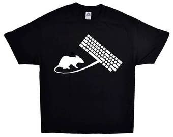 Mouse And Keyboard On A Black Short Sleeve T-shirt 100% Cotton Computer And Laptop Tee