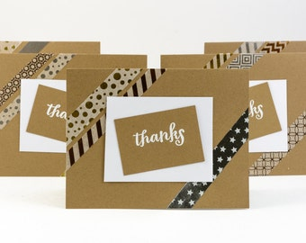 Thank You Card Assortment (Embossed Washi Kraft)  - 5 Pack