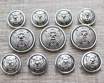 Metal Alloy Anti Silver Shank Suit Button for Bespoke Blazer and Sport Coat(11pcs Set)