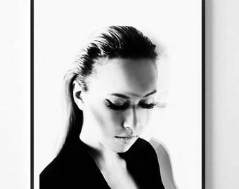Fashion Print, Model, Black and white Photography, Girl print, Fashion print, Girl photo, Fashion Art, Minimalist Print, Scandinavian,Modern
