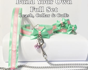 Build Your Own Full Satin-Lined Petplay Leash, Collar and Cuff Set
