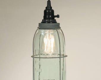Half Gallon Caged Mason Jar Pendant Light- Green Glass