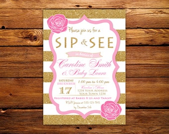 Sip & See Invitation. Sip and See Shower. Baby Shower Invitation. Sip and See Invitation. Gold Gglitter Printed Invites. Floral Baby Shower.