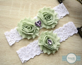 Wedding Garters, Linden Green Garter, Green Garter Set, Green Wedding Garter, Green Bridal Garter, Wedding Garter Belt, Prom Garter