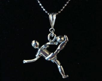 925 Silver necklace with pendant overhead kick football