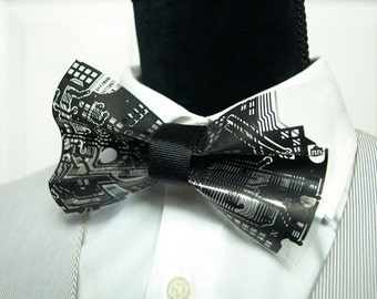 Black Bow Ties, Circuit board tie, Dapper, Hipster, Dr Who, Tron, Nerdy Bow Tie, Beards and Bow Ties, Computer geek gifts (sku 010)