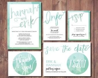 Printable Wedding Invitation, Simple Wedding Invitation Suite, Mint green Wedding Invitation, Mint Green Wedding Invitation Suite, Printable