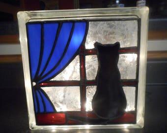 Cat Window Silhoutte Reclaimed Glass Block Light/Nightlight Leaded Stained Glass