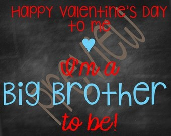 Valentine's Day Birth Announcement for Big Brother To Be
