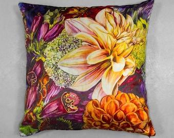 Blooming Flowers Velvet Cushion
