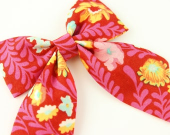 Pink Floral Bow, Pink Toddler Bow, Flower Sailor Bow Hair Clip | Handmade Bow | Cute Summer Sailor Bow | Hand Sewn Bow