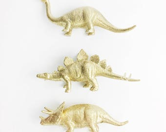 Set of 3 Three Stegosaurus Brontosaurus Triceratops Dinosaur Centerpiece / Cake Topper