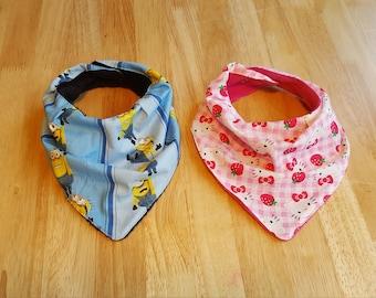 Bandana Bib Minions or Hello Kitty, Double Snap= 3 Sizes
