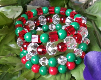 Red and green Christmas colors  memory wire wrap bracelet