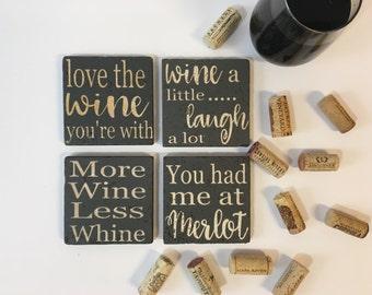 Wine Coasters/Set of 4/Stone Coasters/Wine Sayings/Cork Backed Coasters/Housewarming Present/Wine/Present