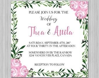 Floral Wedding Invitation - Rustic Rose Garden Foilage - Boho Chic - DIY - Printable - Digital File