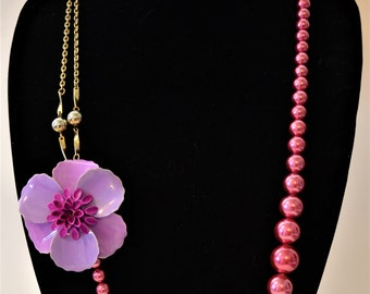 Vintage assemblage statement necklace | pink faux pearl | pink and purple flower