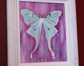 "Luna Moth Original Oil Painting// Original Art// 8x10"" on Wood Panel"