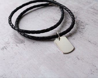 Personalised Gift For Men - Men's Personalised Silver Dog Tag Gift For Him - Christmas Gift For Men