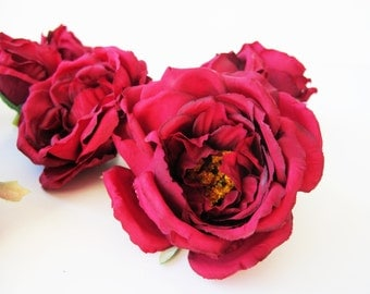 "15 Mini Roses Artificial Silk Flowers Dark Red Rose measuring 3"" Floral Hair Accessories Flower Supplies Faux Fake DIY Wedding"