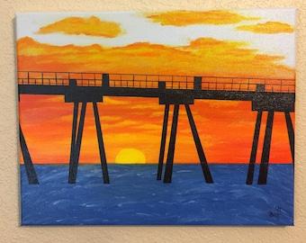 Coastal Home Decor, Nautical Decor, Seaside Painting, Coastal Wall Art, Beach Art, Canvas Painting, Ocean Art Painting, Sunset Pier