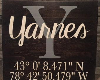 Coordinates Family Name Wooden Sign