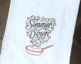 Embroidered Tea Towel - Simmer down