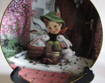 """M.J. Hummel """"playmates"""" collectible plate, signed and licensed, absolutely darling little boy and his bunnies, great condition"""