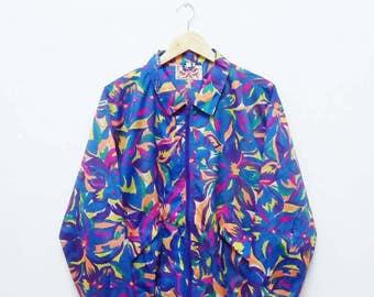 Hot Sale!!! Rare Vintage 90s PEACEFUL MIND FLORAL All Over Print Multicolour Winbreaker Jacket Hip Hop Skate Surf Medium (F) Size
