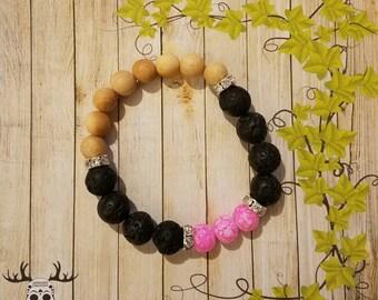 Lava Bead and Thuja Wood Bracelet