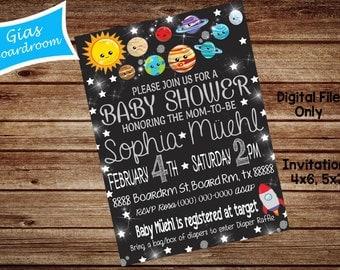Solar System Baby Shower/Birthday Invitation