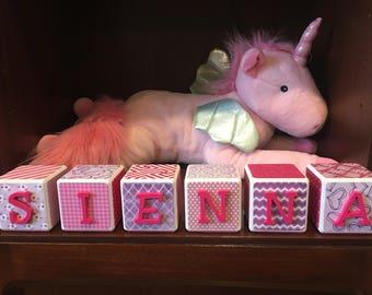 PERSONALISED wooden name blocks  -Nursery decòr - Newborn gift - birthday - christening - photoshoot