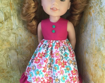 Monkey Dress For Wellie Wisher And Hearts For Hearts Dolls Ready To Ship