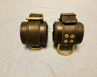 Sheep Skin Lined Wrist Cuffs, BDSM Cuffs, Leather Cuffs, BDSM, Cuffs, Restraints