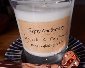 Sea Salt and Driftwood Scented 100% Soy Wax Candle