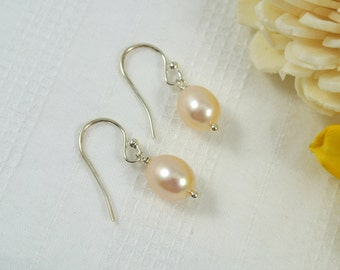 Pink Champagne Freshwater Pearl Sterling Silver Earrings
