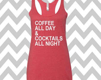 Coffee All Day & Cocktails All Night Tank Top Running Tee Exercise Tank  Running Tank Top Cute Womens Gym Tee Funny Workout Top