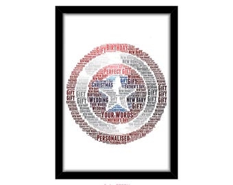 PERSONALISED Captain America Shield Word Art Print Gift Idea Marvel The Avengers Birthday Present For Him Super Hero Wall Art Marvel PG0014