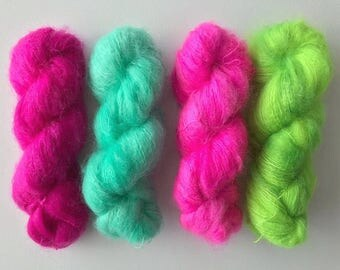SALE Mint, Mohair (100g) Hand dyed brushed mohair DK weight yarn.