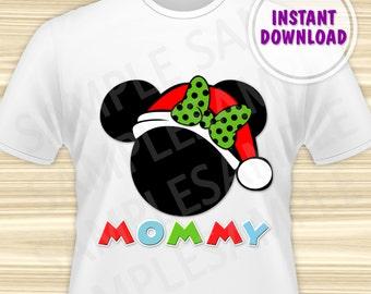 Christmas Minnie with Santa Hat Printable Iron On Transfer. Minnie Mouse Christmas Iron On Transfer. Minnie Christmas Mom. DIGITAL FILE.