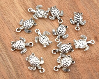 Turtles aged silver charms 16x12.5mm batch of 5, 10, 15, 20 units