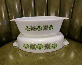 Vintage anchor Hocking fire king casserole dishes in meadow green