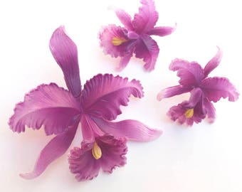 Vintage Iris earrings and brooch set / purple /