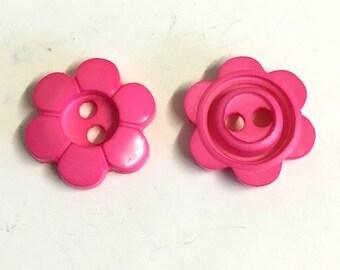 10 hot pink flower buttons, hot pink buttons, pink floral buttons, 17mm buttons, novelty buttons, baby buttons, childrens buttons