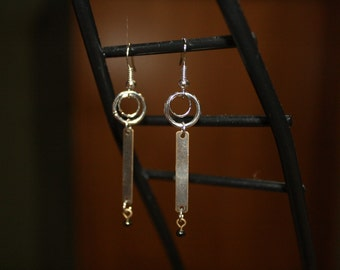 Art Deco-Inspired Bronze and Silver Dangle Earrings