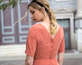 Back Buttons Dress (Peachy) / Skater Dress / Vintage Dress / Buttons Dress / Peachy Dress