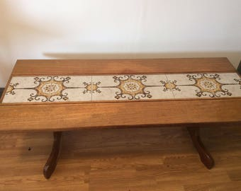 Mid Century Teak and Part Tiled Top Coffee Table