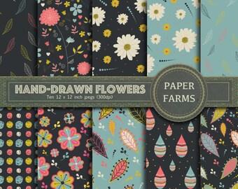 Floral digital paper, flower digital paper, hand-drawn flower digital paper, botanical digital paper, hand-drawn flower scrapbooking paper