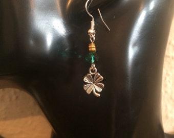 Shamrock earrings, Four leaf clover earrings, Irish earrings, St Patrick's day, dangly earrings item 343 by CraftyLittleMonkeyGB