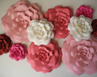 10 Piece Paper Flowers Nursery Large Paper Flowers Bridal Shower Baby Nursery Wall Decor Wedding Arch Party Supplies Paper Roses